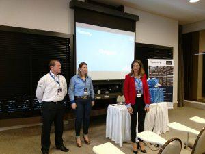 Parte da equipe comercial da Hardlink em Santa Catarina. Hudson Andrade, Patricia Pinzl e Ana Ibaldo.